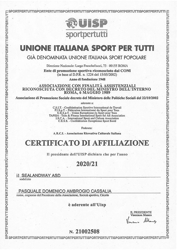 Certifcato AffiliazIone UISP 19-2020